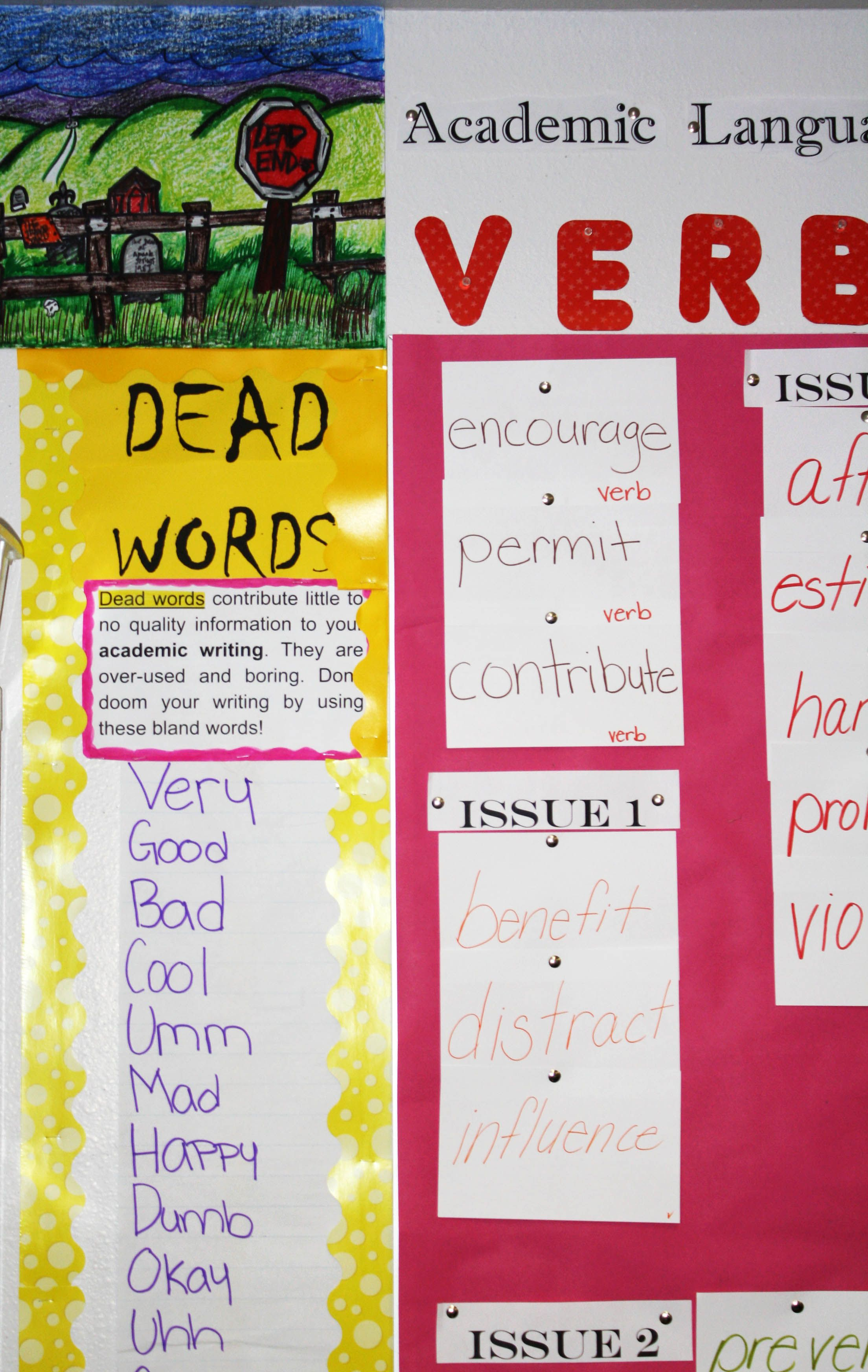 Anchor Chart And Artwork Students Created To Display Dead
