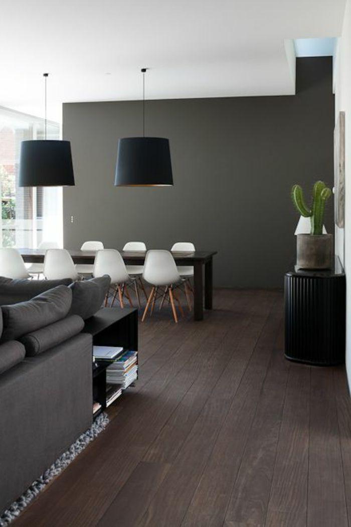 salle-a-manger-complete-pas-cher-sol-en-parquet-mur-gris-lustre-noir - Salle A Manger Parquet