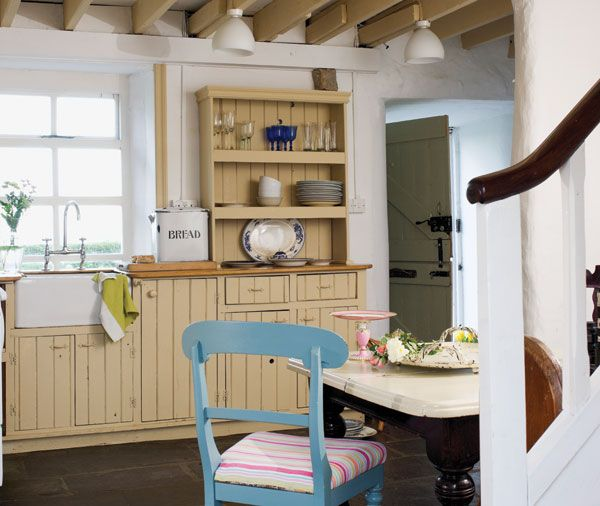 Irish stone cottage kitchen with belfast sink and for Traditional irish cottage designs