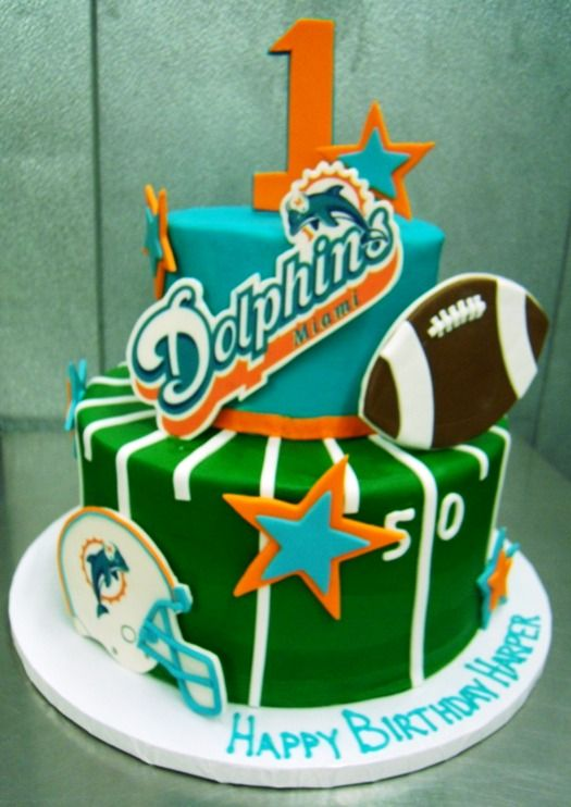 Excellent Miami Dolphins First Birthday Cake Trefzgers Bakery With Images Funny Birthday Cards Online Alyptdamsfinfo