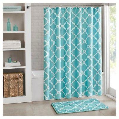 Becker Printed Geometric Shower Curtain Aqua Home Essence Memory Foam Bath Rugs Patterned Bathroom Rugs