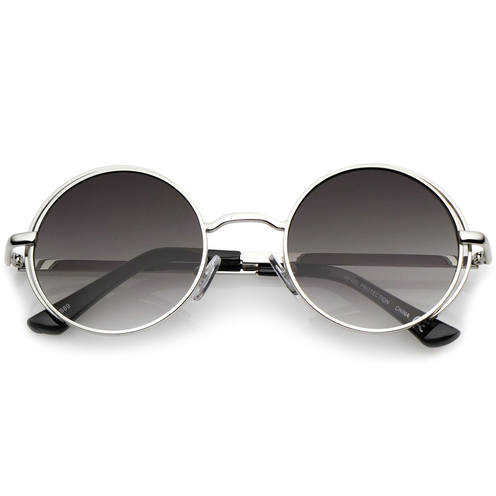 Retro Open Metal Frame Slim Temples Flat Lens Round Sunglasses 49mm