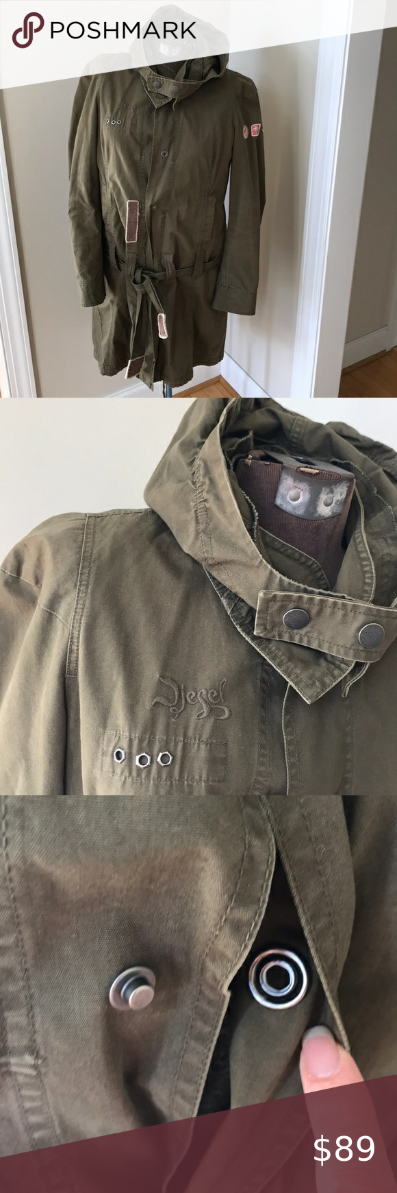 Diesel Army Green Military Trench Coat Jacket M Military Trench Coat Trench Coat Jackets Diesel Jacket [ 1740 x 580 Pixel ]