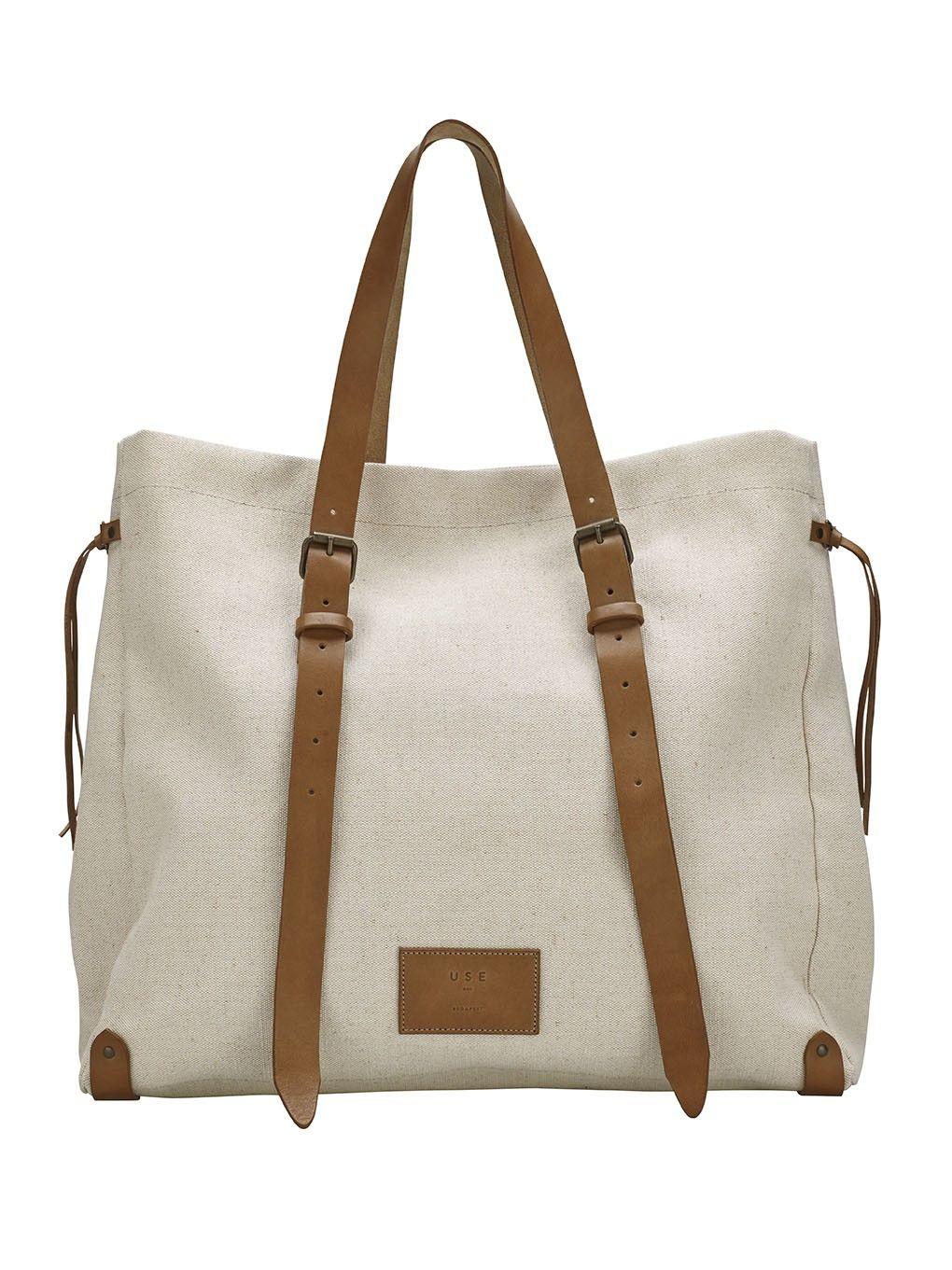 d5e167579d13 Sűrű szövésű, vastag vászon táska, béléssel, bőr részletekkel ...
