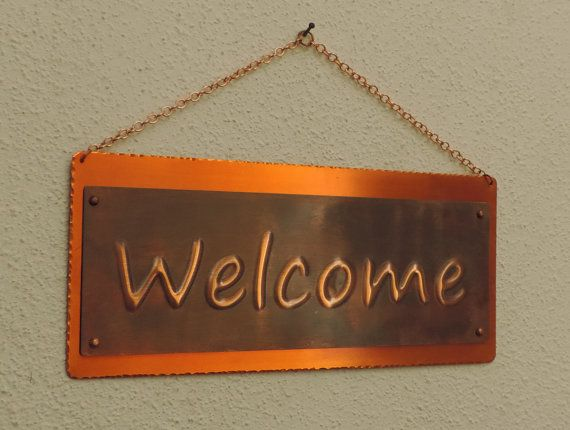 Copper Welcome sign  custom wedding gift by SmallMetalSigns