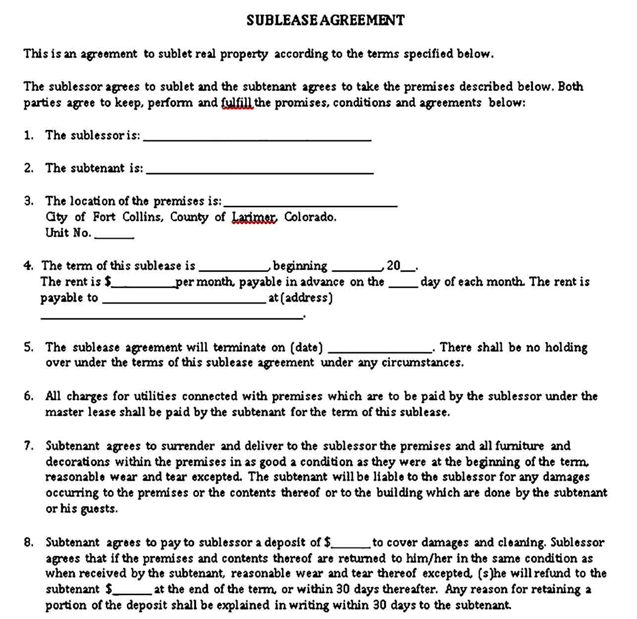 Sublease Agreement Sample Template Being A Landlord Agreement Contract Template
