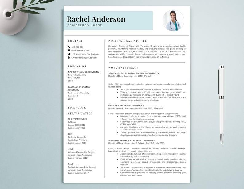 Google Docs Resume Template Nurse Resume Template Nursing Etsy In 2020 Resume Template Nursing Resume Template Nursing Resume