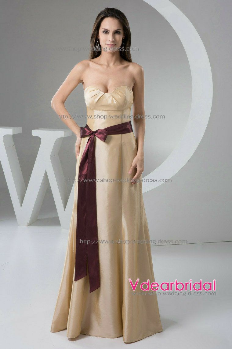 Elegant a line sweetheart empire waist floor length taffeta elegant a line sweetheart empire waist floor length taffeta champagne bridesmaid dresses wd4 903 by ombrellifo Choice Image