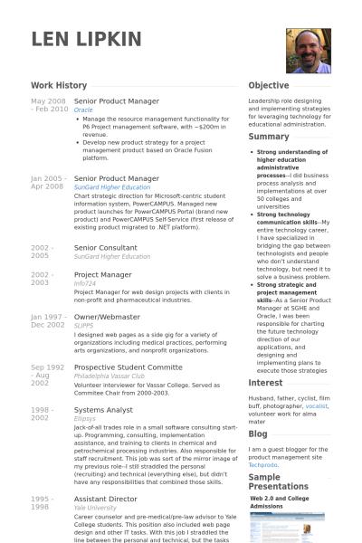 Senior Product Manager Resume Example Resume CV