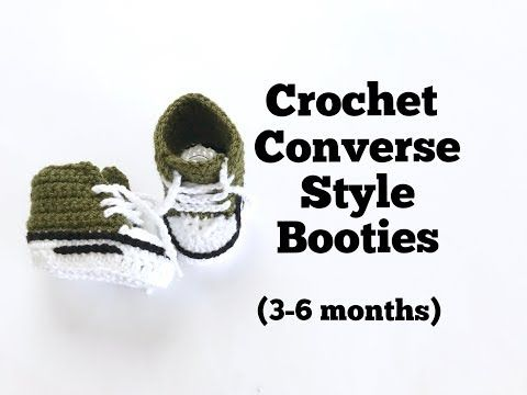 09a36cba89a How to Crochet Converse Style Booties (3-6 months) - YouTube ...