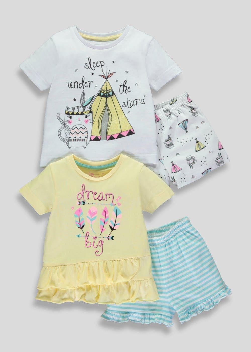 d63d4b888f19e Girls 2 Pack Teepee Cat Short Pyjamas (9mths-5yrs) – Yellow | Girls ...
