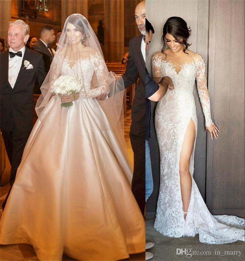 2017 New Designer Mermaid Wedding Dresses Detachable Skirt Full Lace Illusion Long Split Wedding Dress Wedding Dress Detachable Skirt Detachable Wedding Dress