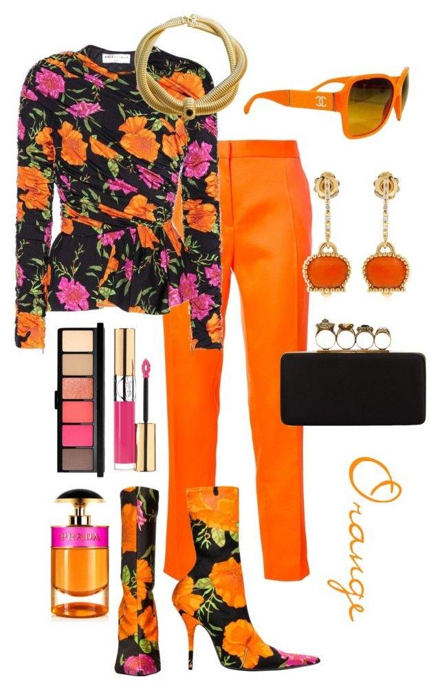 """orange"" by abekkali ❤ liked on Polyvore featuring Maison Rabih Kayrouz, Balenciaga, Alexander McQueen, Chanel, Yves Saint Laurent, MAC Cosmetics, Givenchy, Prada and Chantecler"