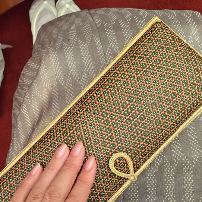 a beautiful bamboo clutch bag from Bangkok to go with a kimono style