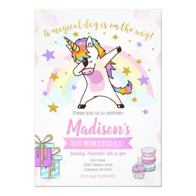 Dabbing Unicorn Birthday Invitation   Zazzle com - Unicorn birthday invitations, Unicorn party invites, Unicorn birthday, Rainbow unicorn birthday, Rainbow unicorn birthday invitations, Unicorn invitations - All designs are © Happy Panda Print