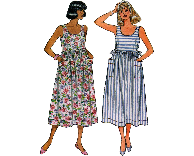 Butterick 3865 80s womens sundress sleeveless scoop neck