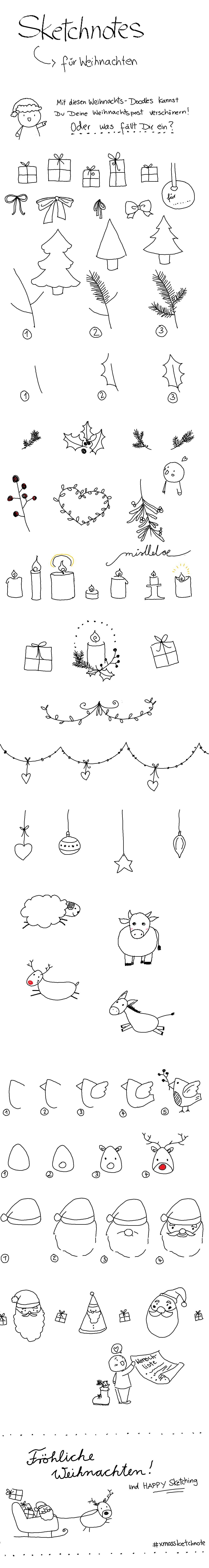 Sketchnotes und Doodles zu Weihnachten: Geschenke, Tannenbäume ...