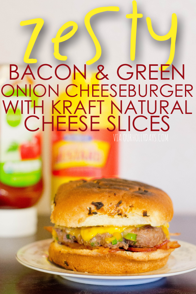 Zesty cheeseburger with bacon crumbled & green onion inside of the patty! Soooo good! #SayCheeseburger #shop