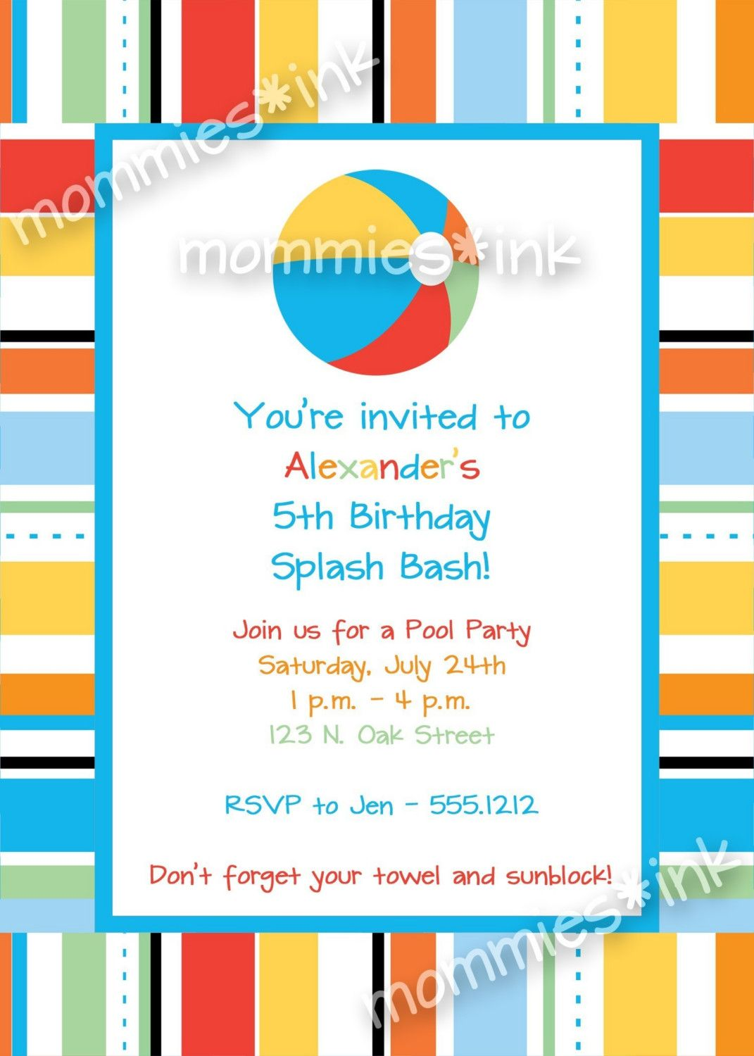 Pool Party Birthday Invitation Beach Ball by MommiesInk on Etsy ...