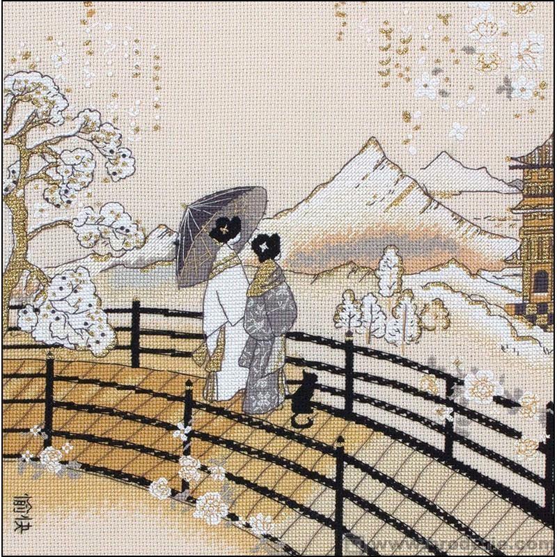 0 point de croix japonaises & pagode - cross stitch japanese ladies, kimono, pagoda - 35x35 cm, aïda 6.4