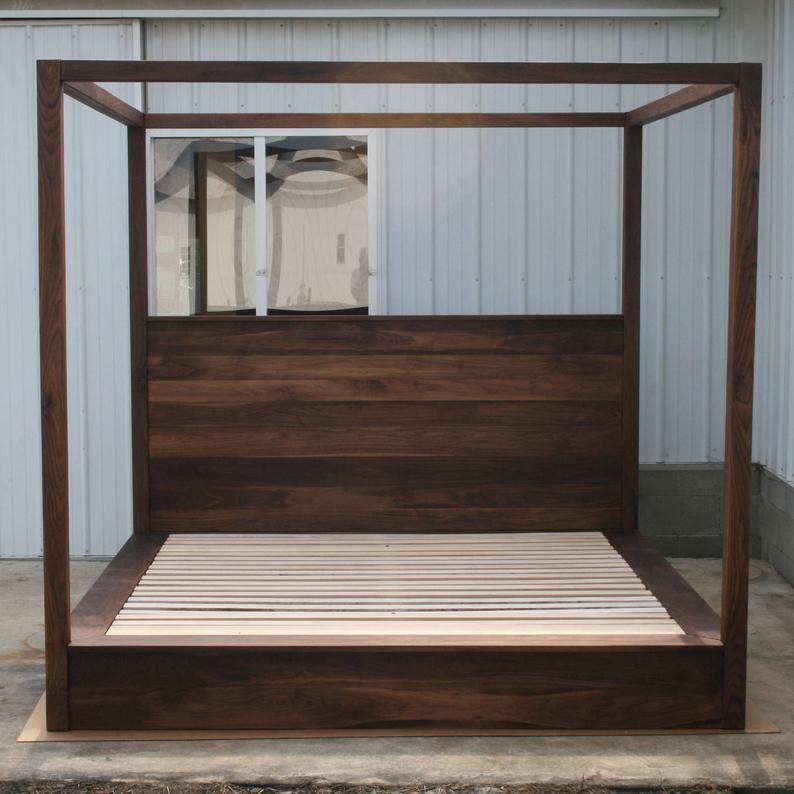 Cbfwv1 Low Platform Solid Hardwood Bed With Large Rail Canopy Etsy Farmhouse Canopy Beds Diy Bed Frame