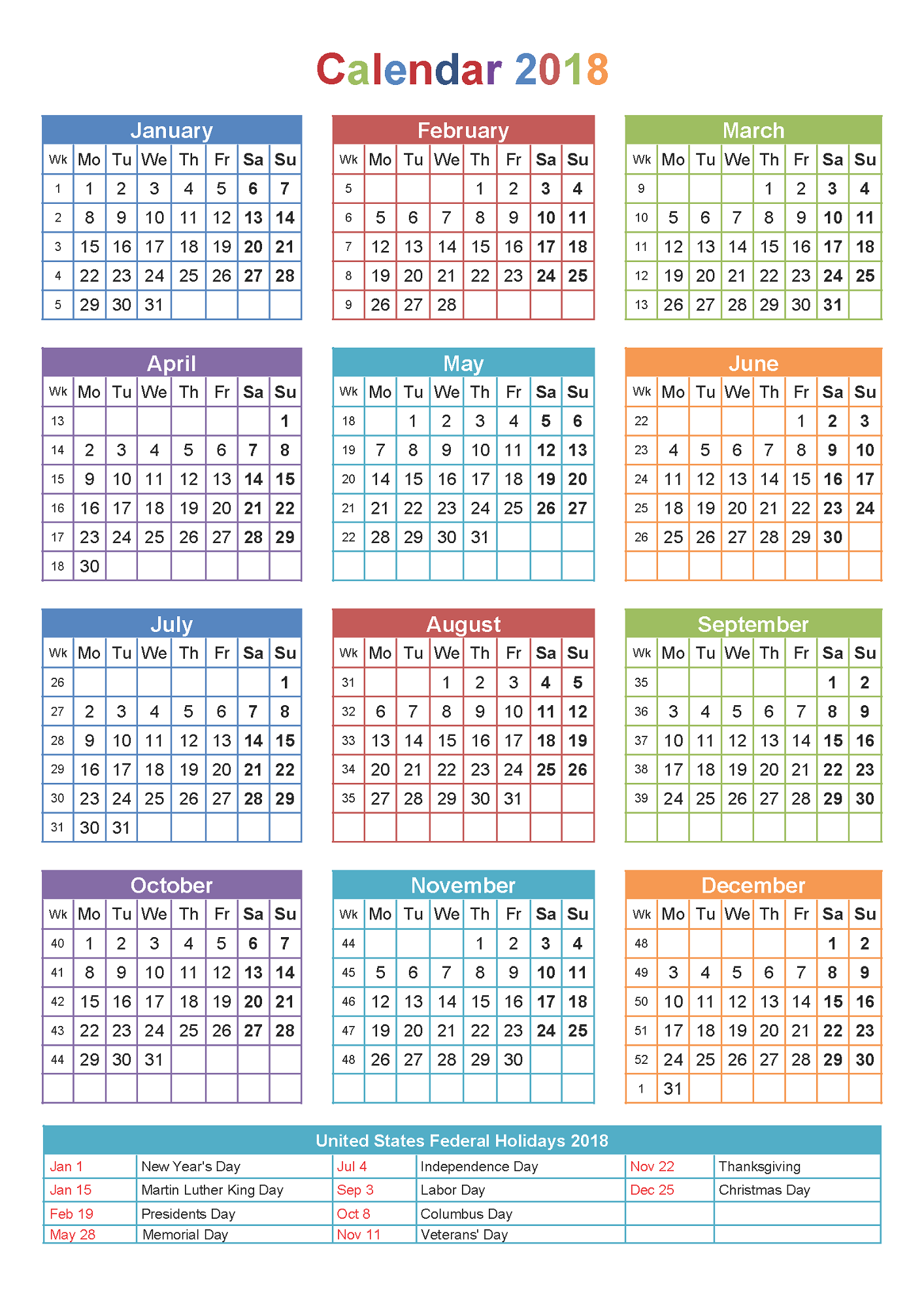 Yearly Calendar Printable Large