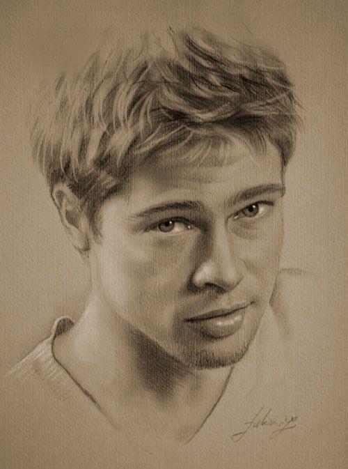 Brad Pitt Pencil Drawing Works By Krzysztof Lukasiewicz Poland Portrait Realistic Pencil Drawings Portrait Sketches