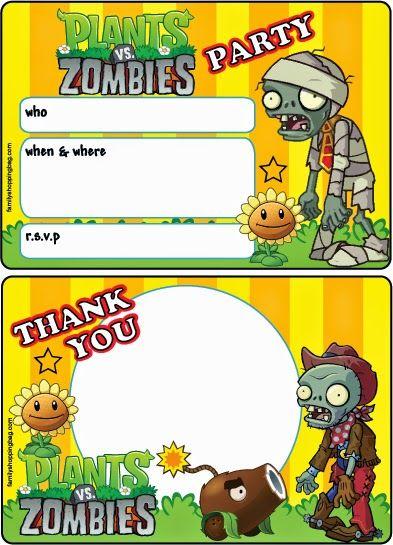 Plants vs Zombies: Free Printable Cards or Invitations. | Descargar ...