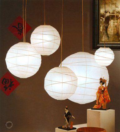 Amazon Com 36 Daichi Rice Paper Japanese Hanging Lantern Lamp With Light Kit White Home Improvement Outdoor Paper Lanterns White Paper Lanterns Paper Lamp