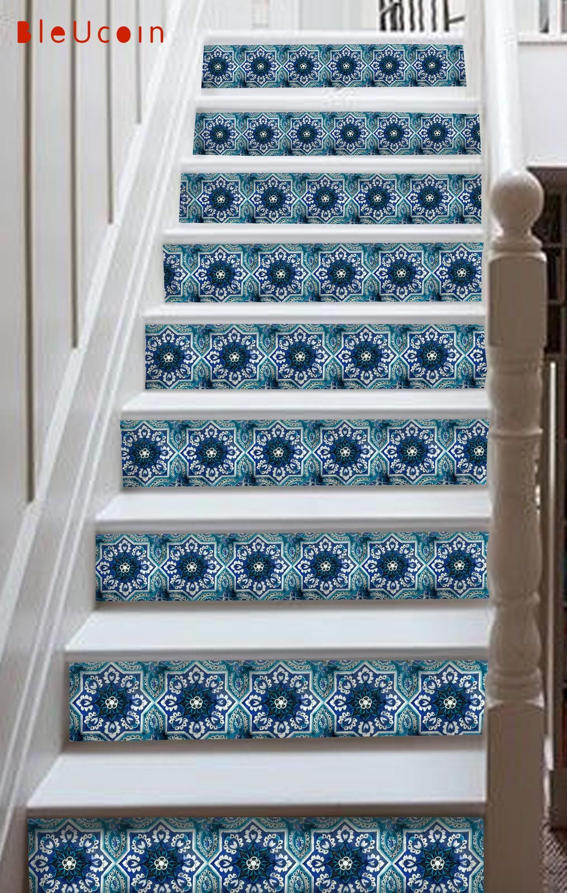 Indian Blue Pottery Tile Decal Blue Pottery Is A Famous Handicraft In India A Well Known Trend For Interior Design The Stairs Vinyl Blue Pottery Wall Tiles