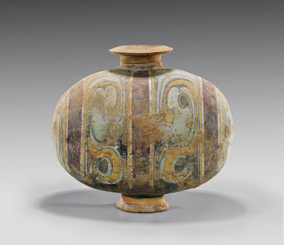 HAN DYNASTY POTTERY COCOON VASE elaborately painted in unusual pastel color…