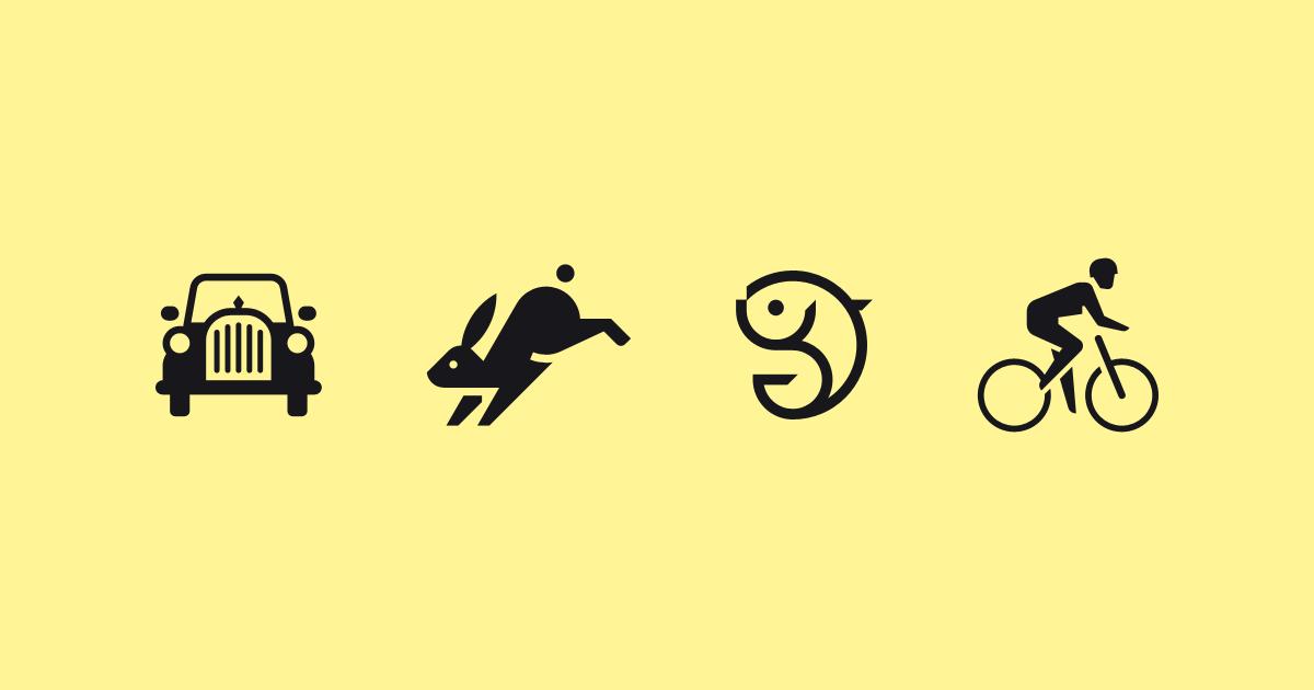 Visual Communication by Sascha Elmers #markendesign #symbols #logo #logotype #brand #branding #identity #id #mark #rabbit #fish #car #vehicle #oldtimer #cycling #bicycle #animal #transporation #pictogram #picto #icon #icons #icondesign #iconography
