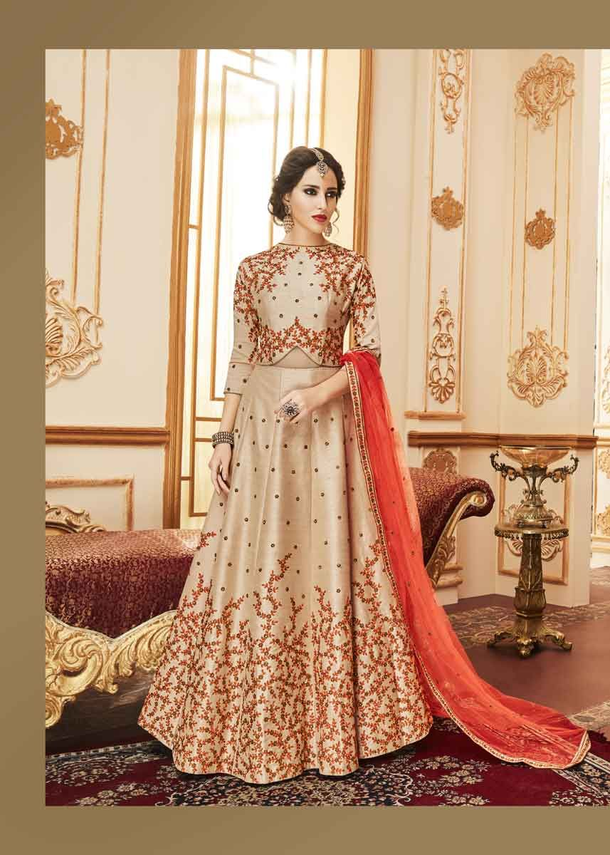 234f5ead2f You will be confident to make a strong style statement with this Elegant  Peach Color Embrodered