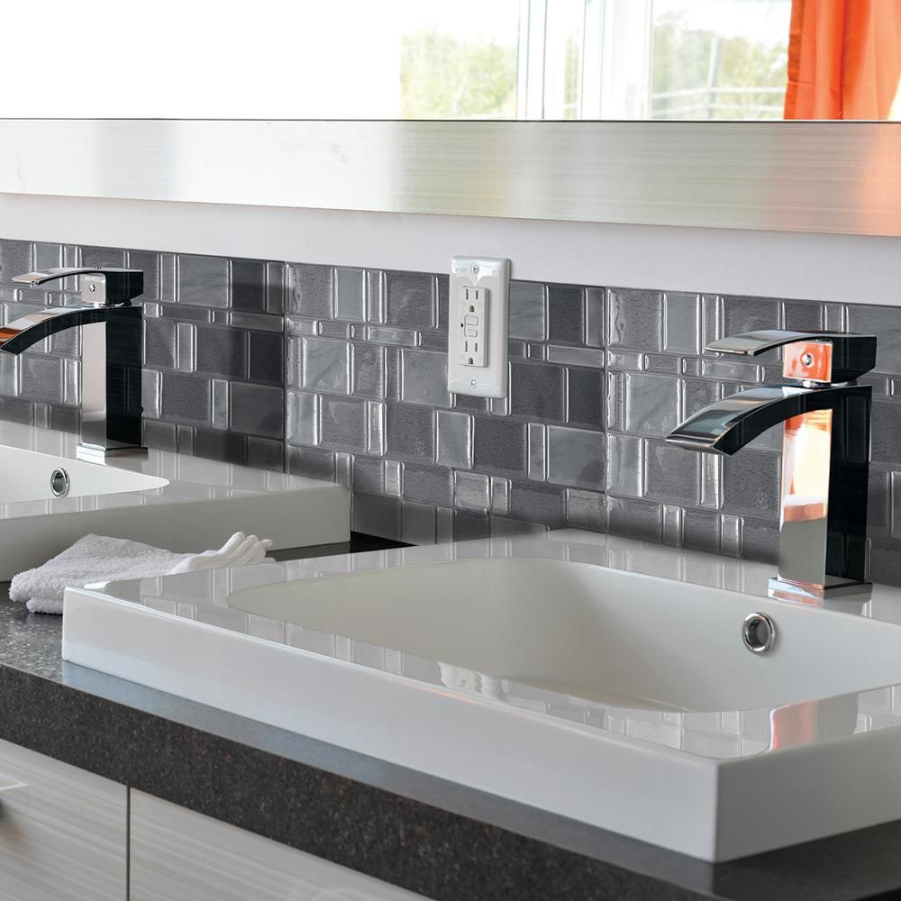 Tango onyx 1155 in x 964 in peel and stick mosaic decorative smart tiles tango onyx 1155 in x 964 in peel and stick mosaic decorative tile backsplash in grey 6 pack sm1047 6 the home depot dailygadgetfo Images