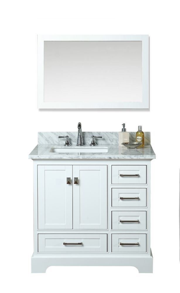 Newport White 36 Inch Single Sink Bathroom Vanity With Mirror 36