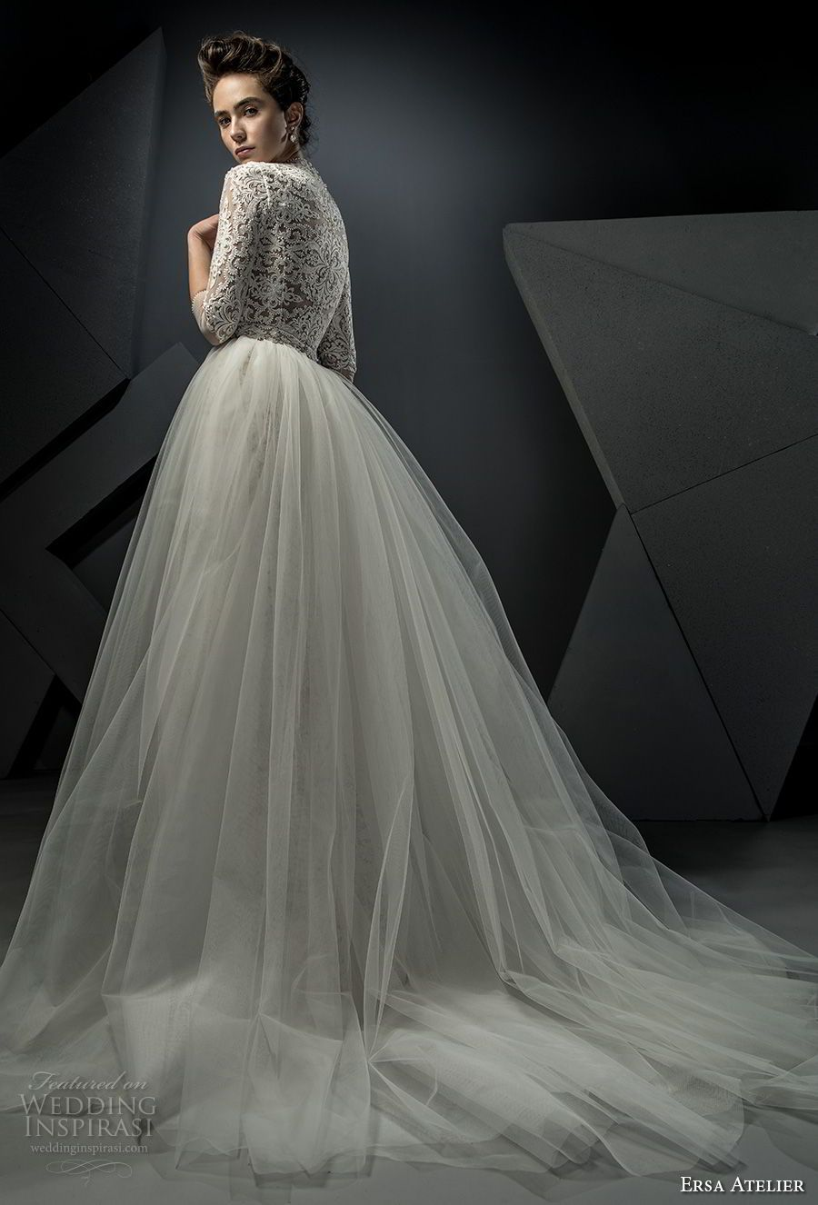 Weddinginspirasi.com featuring - ersa atelier spring 2018 bridal thiree quarters sleeves high neck heavily embellished bodice tulle skirt elegant modest a  line wedding dress covered lace back chapel train (8) bv -- Ersa Atelier Spring 2018 Wedding Dresses  #wedding #weddings #bridal #weddingdress #weddingdresses #bride #fashion #label:ErsaAtelier #romania #season:Spring/Summer #year:2018 ~