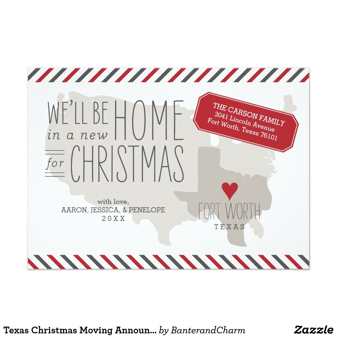 Texas Christmas Moving Announcement Holiday Card | Christmas Card ...