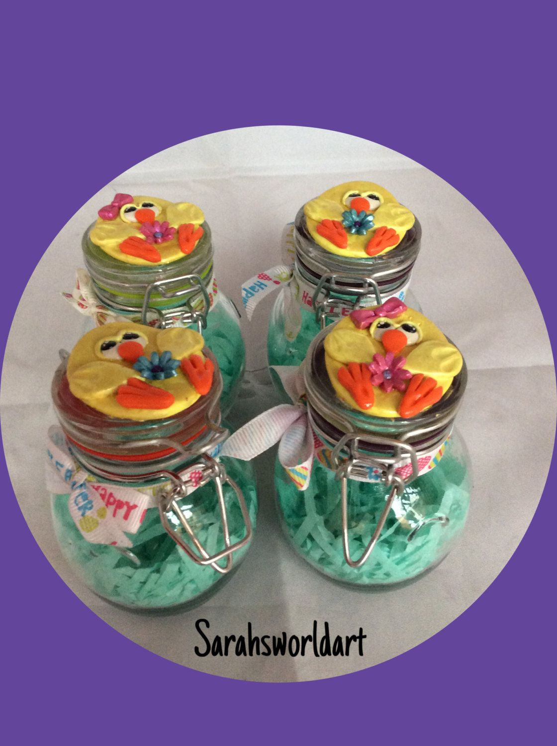 Easter themed glass jars, ready to fill with your favourite Easter eggs by Sarahsworldart on Etsy