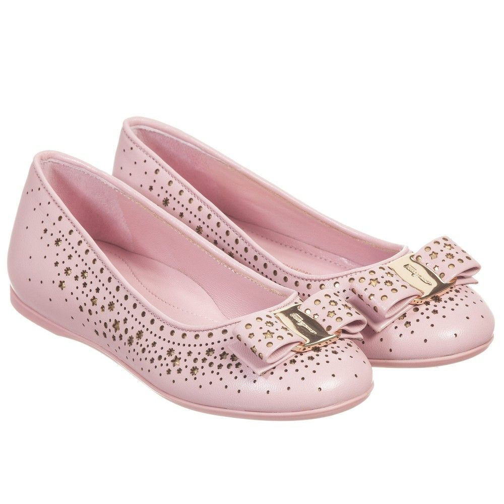 Girls Pink & Gold Star Leather 'Varina' Shoes