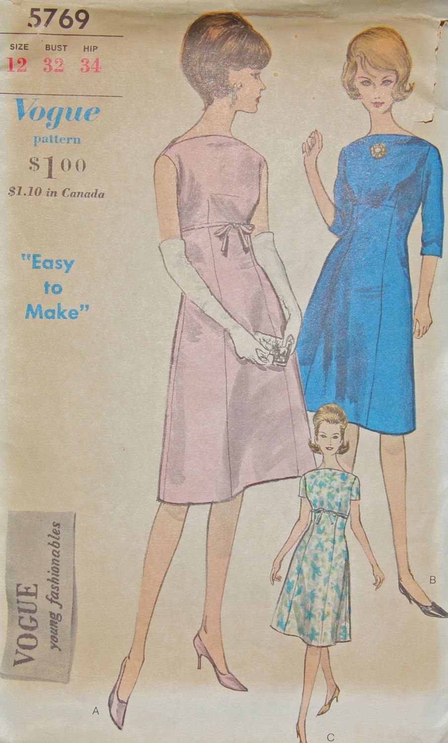 Vogue 5769 Sewing Pattern Dress for Evening or Day Size 12 Bust 32 by desertcottage on Etsy