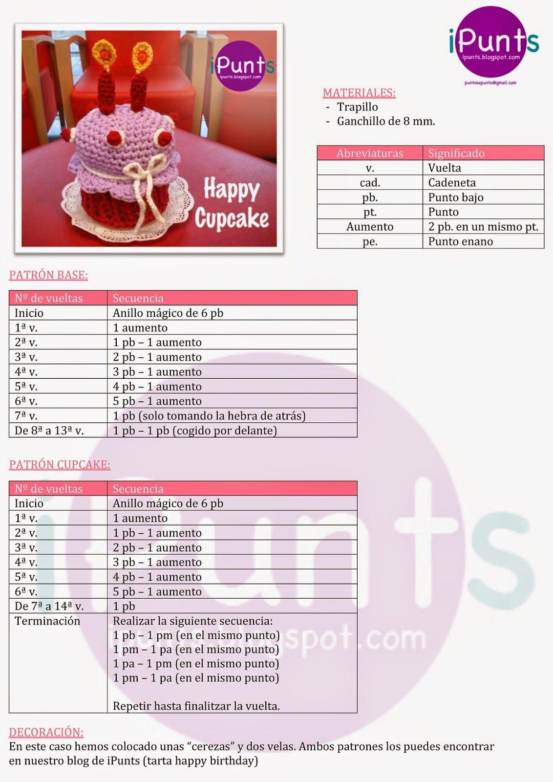 cupcake crochet ganchillo patron trapillo | Punto | Pinterest ...
