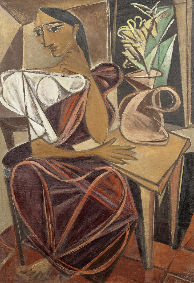"khwabgah:  ""Seated Woman with Flowers"" (1946) – George Keyt"
