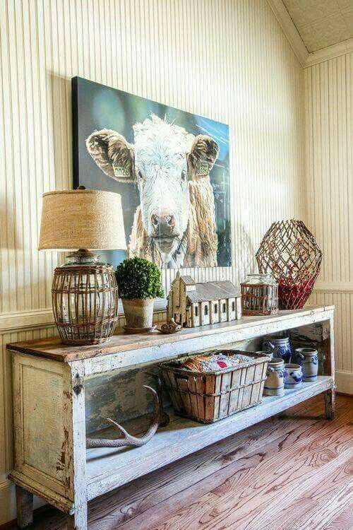 rustic and shabby chic console table with a shelf space inside