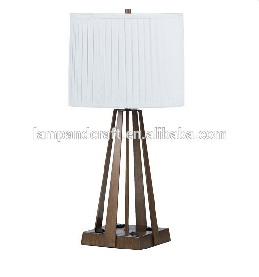UL CUL Approve Antique Brass Finish Table Lamps With USB Port And Power  Outlet For Hotel