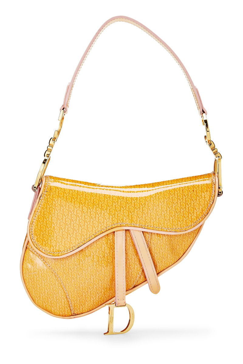 Christian Dior Yellow Patent Leather Trotter Saddle Bag