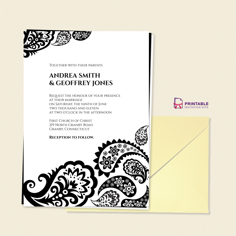 FREE PDF Download - Paisley Border Wedding Invitation --- free to ...
