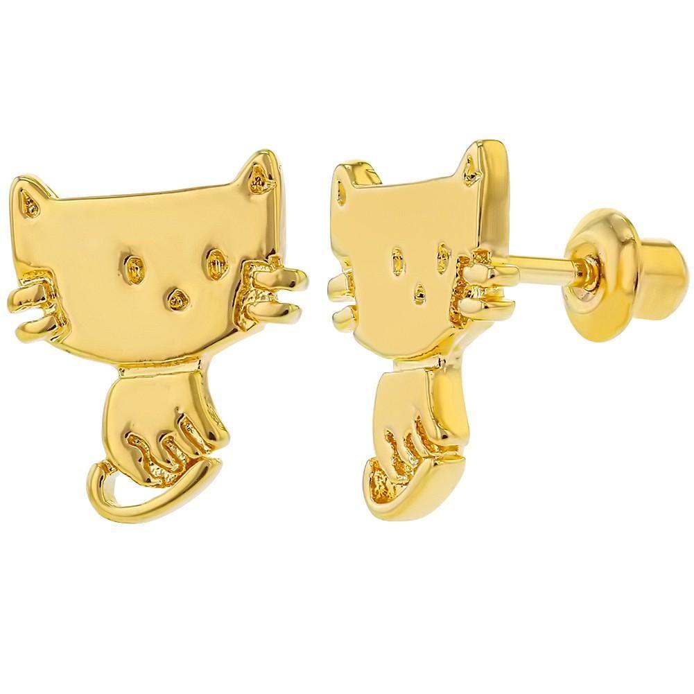 18k gold plated cat kitten safety screw back earrings for