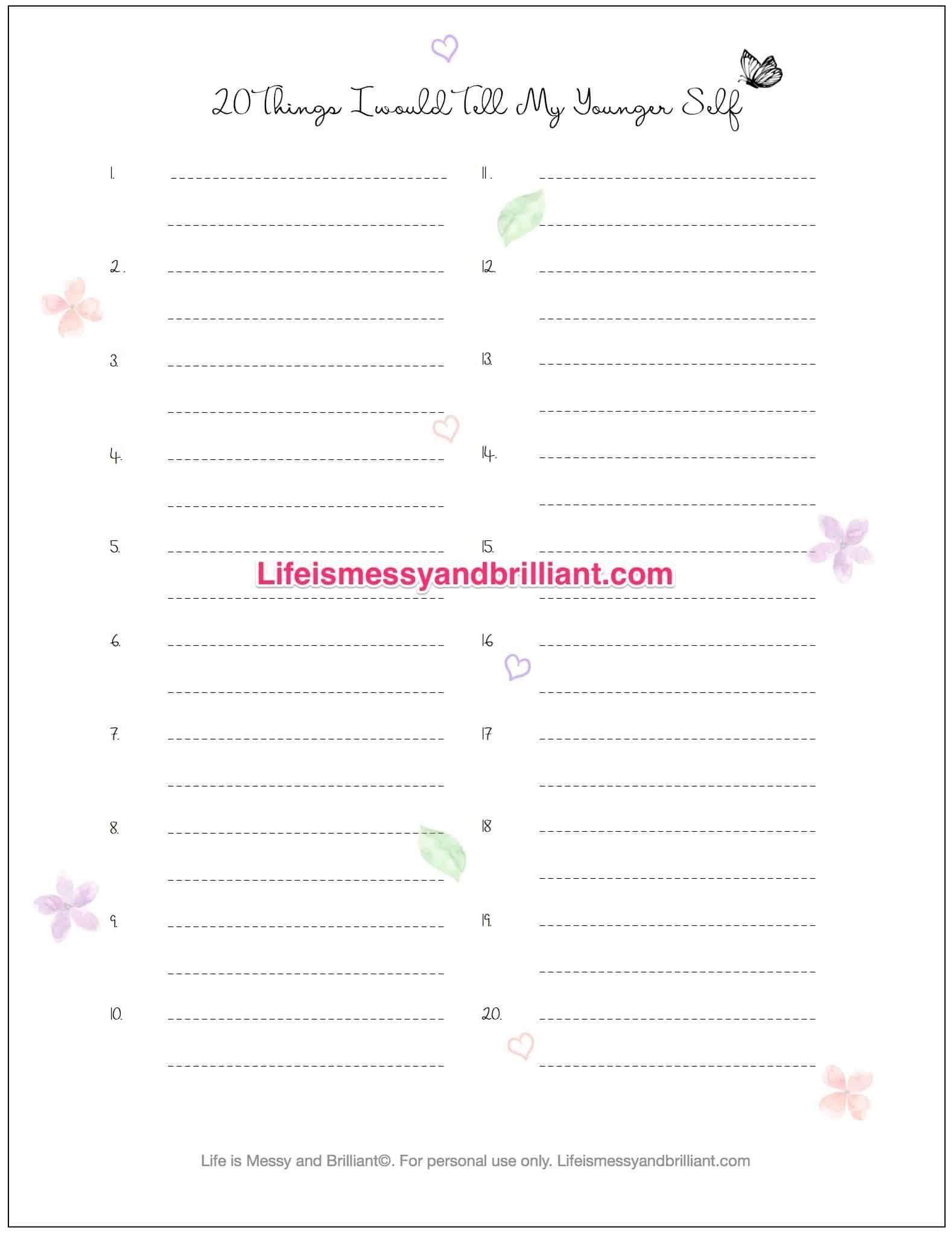 5 Self Esteem Journal Worksheet In