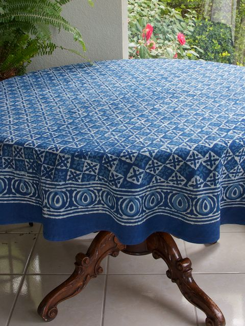 Starry Nights ~ Designer Batik Blue Round India Tablecloth