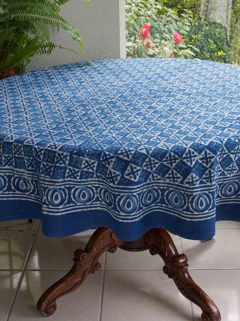 Blue Tablecloth Batik Tablecloth India Tablecloth 90 Round